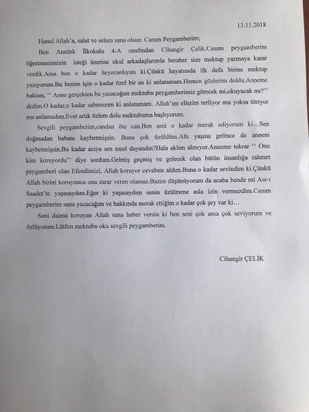 Peygamber Efendimize Mektup Konulu Yarişma Atatürk Ilkokulu